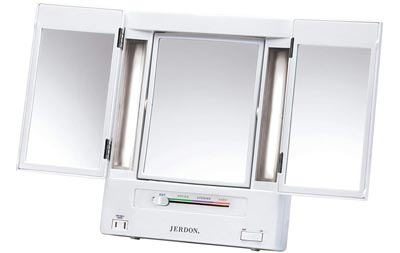 Tri-Fold Two-Sided Lighted Makeup Mirror by Jerdon