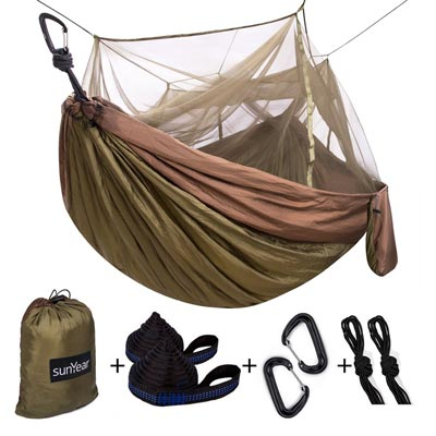 6. Single and Double Camping Hammock with Mosquito/Bug Net by Sunyear
