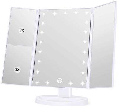 Portable Trifold Lighted Makeup Mirror by KOOLORBS