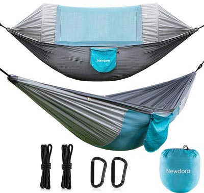 5. Swing Sleeping Hammock Bed with Net and 2 x Hanging Straps for Outdoor by Newdor