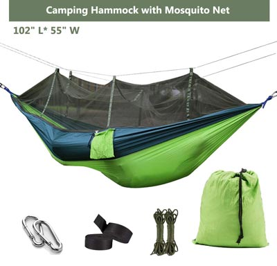 Lightweight Nylon Portable Hammock with Tree Straps and Easy Assembly by Ufanore