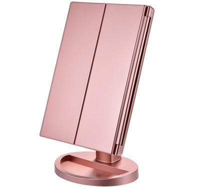 Lighted Makeup Mirror - Portable Trifold Mirror by KOOLORBS