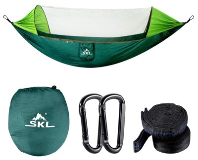 Camping Hammock with Mosquito Net Lightweight Portable Parachute Nylon by SKL