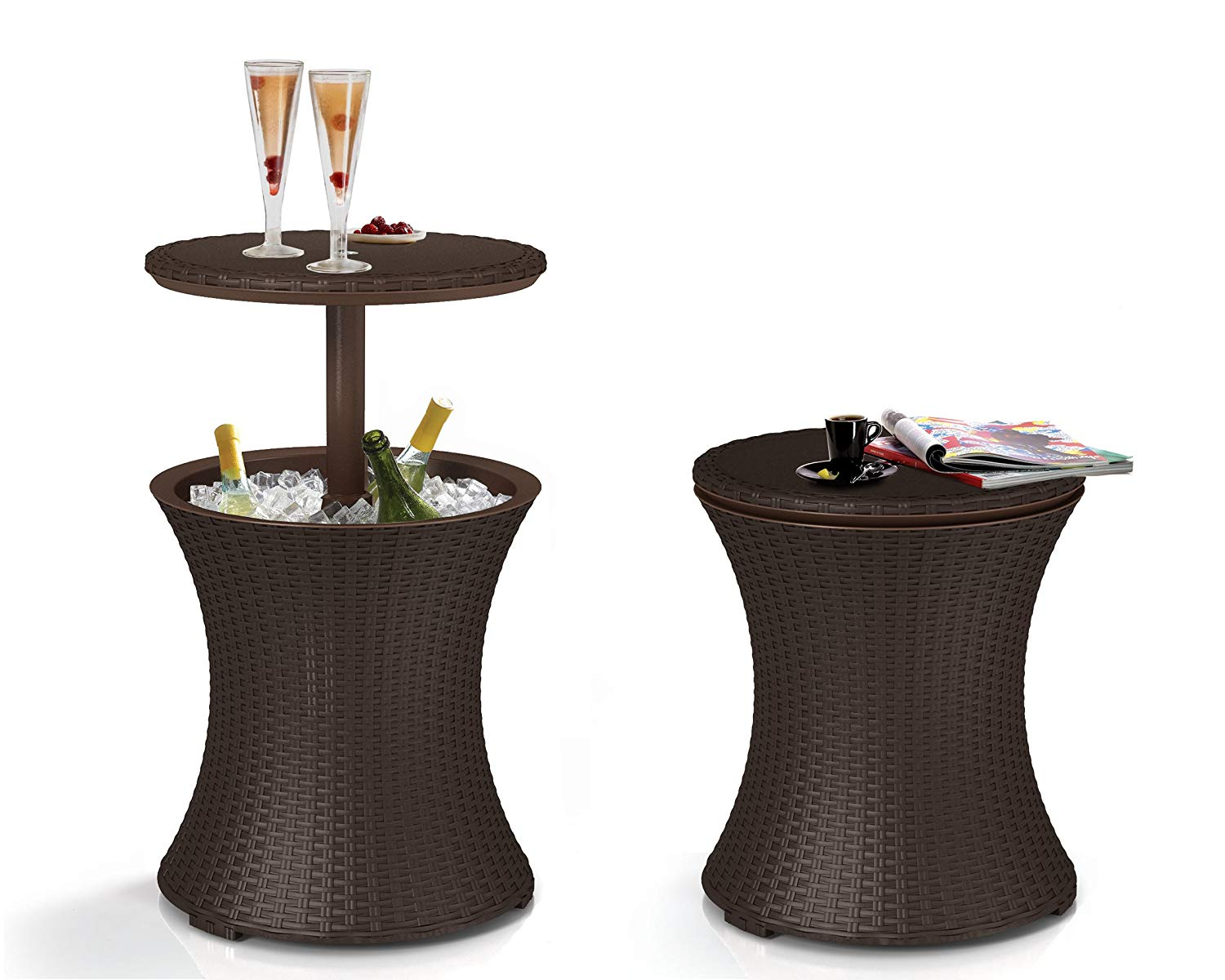 Keter Outdoor Cool Bar Patio Garden Table (Brown)