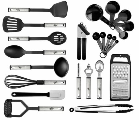 Kitchen Utensil set - 24 Nylon Stainless Steel Cooking Supplies