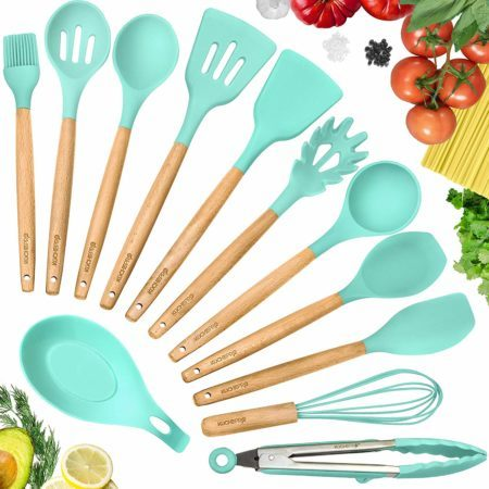 KuchePro 12-Piece Silicone Kitchen Utensil Set - Premium Natural Beech Wooden Handles
