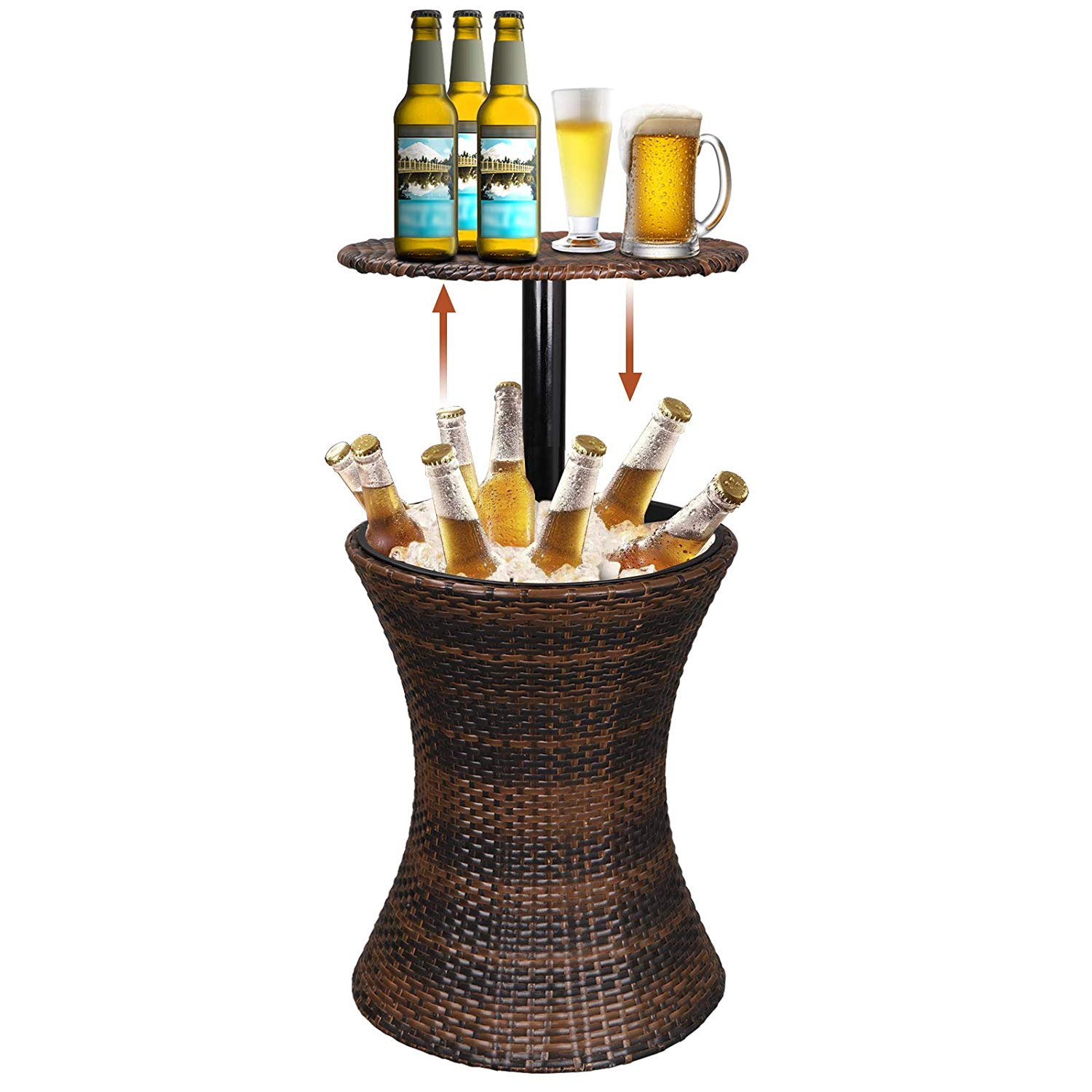 Super Deal Weather-Resistant Rattan Adjustable Bar Table