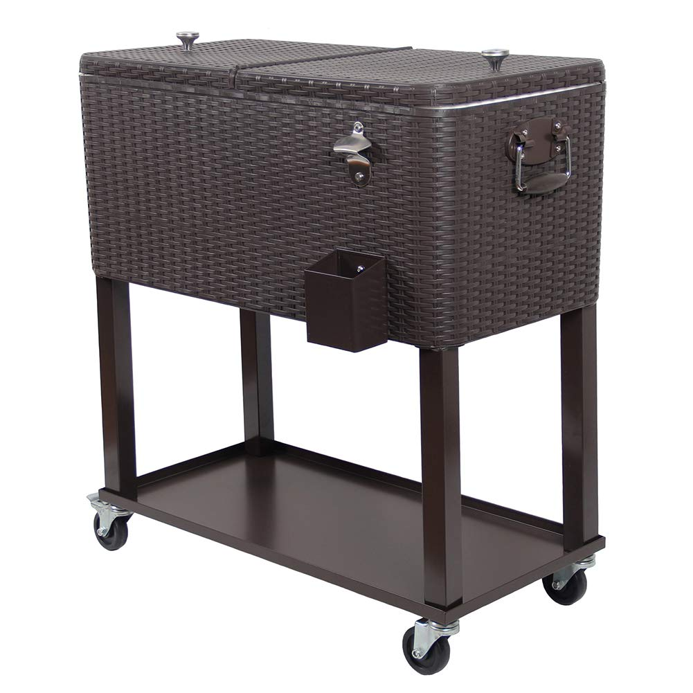 UPHA Cart On Wheels Patio Cooling Bar Furniture