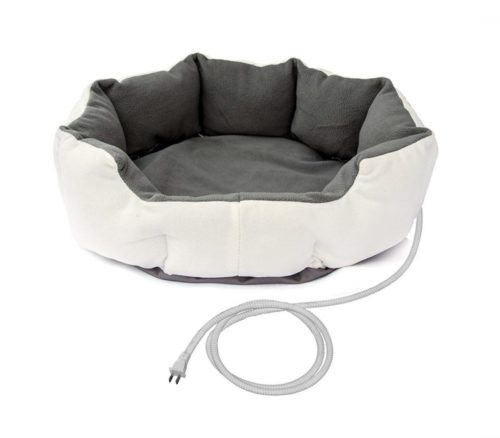 10.ALEKO PHBED17S Electric Thermo-Pad Heated Pet Bed for Dogs and Cats 19 x 19 x 7 Inches Gray and White