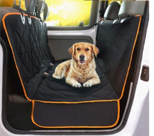 10.Doggie World Dog Car Seat Cover - XL Cars, Trucks and Suvs Luxury Full Protector, w Extra Side Flaps, Seat Belt Openings - Hammock Convertible for Your Pet