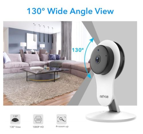 10.Indoor Security Camera, 1080P Netvue Home Camera 2 Way Audio and Night Vision, Motion Detection, Compatible with Alexa Echo Show, Pet Monitor, Baby Camera