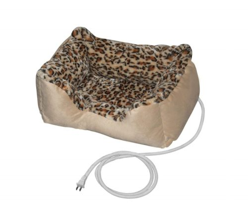12.ALEKO PBH20X16X8 Electric Thermo-Pad Heated Pet Bed for Dogs and Cats 20 x 16 x 8 Inches Leopard Print