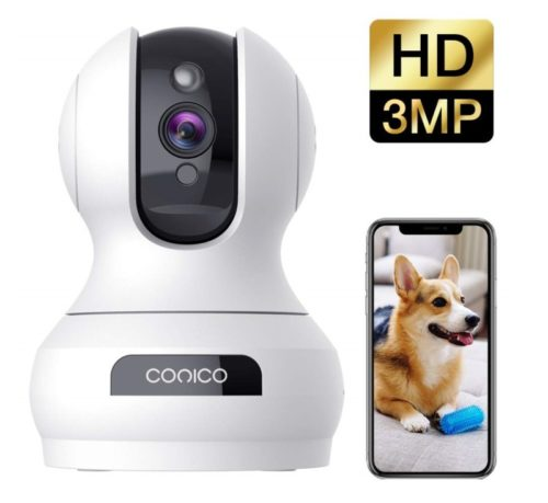 12.Wireless Security Camera 1536P Pet Camera, CONICO 3MP Dog Cam Baby Monitor 360 Viewing 8X Zoom, 2-Way Audio, Surveillance Camera with Motion Sound.