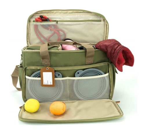 13.Houndy! Yoho Dog's Travel Bag. Large Stylish Waterproof Durable Canvas. Perfect for Traveling, Camping, Outdoors, Carry-on Dog Bag. Two Pet-Safe Food.