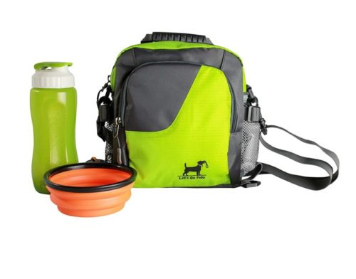 14.Dog Walking Bag with Collapsible Bowl and Water Bottle Converts to Cross Body or Waist Pack. Perfect for Travel, Dog Parks, Hiking, Training, Camping, Beach