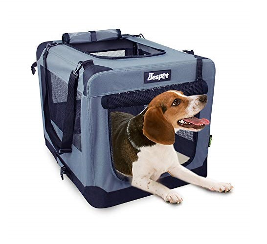 14.JESPET Soft Dog Crates Kennel for Pets, 3 Door 26 Soft Sided Folding Travel Pet Carrier with Straps and Fleece Mat for Dogs, Cats, Rabbits
