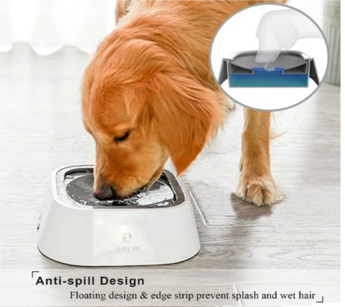 14.UPSKY Dog Water Bowl No-Spill Pet Water Bowl Slow Water Feeder Dog Bowl No-Slip Pet Water Dispenser 35oz Feeder Bowl for Dogs and Cats ... (Grey)