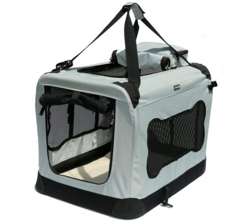 15.Soft Sided Pet Carrier with Steel Frame - Dog House Style Portable Pet Crate - Cats & Dogs - Designed for Comfort & Safety - Padded Fleece Bedding...