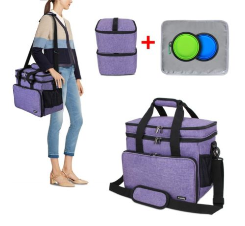 15.Teamoy Double Layer Dog Travel Bag with 2 Silicone Collapsible Bowls, 2 Food Carriers, 1 Water-Resistant Placemat, Pet Supplies Weekend Tote...