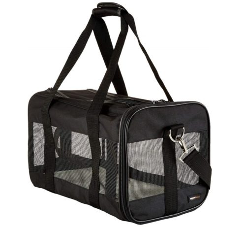 2.AmazonBasics Medium Soft-Sided Mesh Pet Airline Travel Carrier Bag - 16.5 x 9.5 x 10 Inches, Black