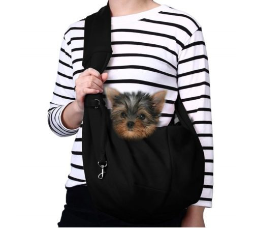 3.TOMKAS Small Dog Cat Carrier Sling Hands Free Pet Puppy Outdoor Travel Bag Tote Reversible (Black)