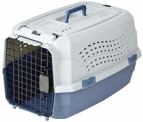 4.AmazonBasics Top-Load Pet Travel Kennel Carrier Crate For Cats Or Dogs - 13 x 15 x 23 Inches