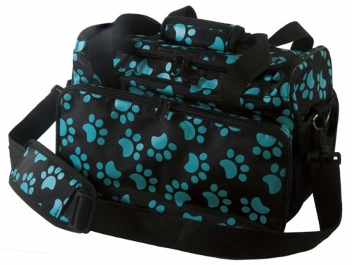 4.Wahl Professional Animal Travel Tote Bag with Zipper, Turquoise Paw Print Design (#97764-300)