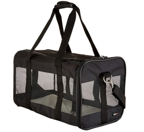 5.AmazonBasics Large Soft-Sided Mesh Pet Transport Carrier Bag - 20 x 10 x 11 Inches, Black