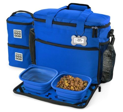 5.Dog Travel Bag - Week Away Tote for Med and Large Dogs - Includes Bag, 2 Lined Food Carriers, Placemat, and 2 Collapsible Bowls (Royal Blue)