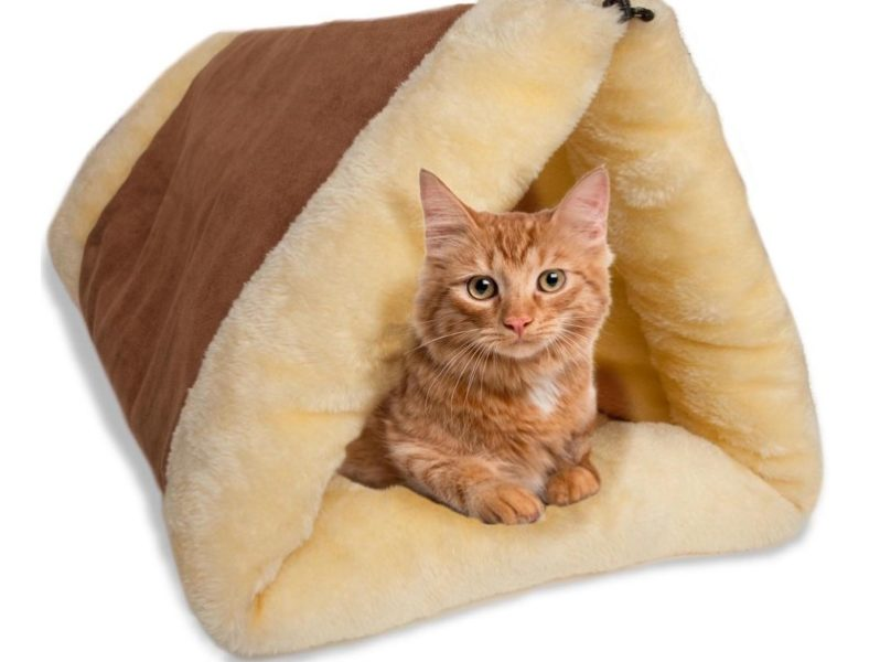 6.Cat Bed Cave House Bed - Beds Best for Indoor Cats Houses Heated Kitten Warm Pet Self Warming w Hoods Caves Igloo Covered Pod Felted Faux Felt Wool Cocoon