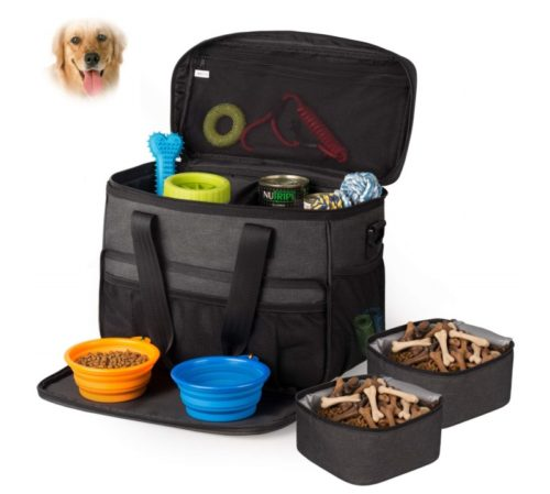 6.Hilike Pet Travel Bag for Dog&Cat -Weekend Tote Organizer Bag for Dogs Travel -Incudes1 Dog Tote Bag,2 Dog Food Carriers Bag,2 Pet Silicone Collapsible...