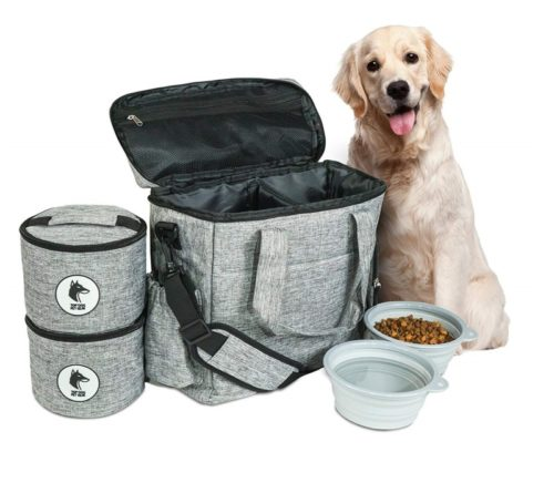 7.Top Dog Travel Bag - Airline Approved Travel Set for Dogs Stores All Your Dog Accessories - Includes Travel Bag, 2X Food Storage Containers and 2X.