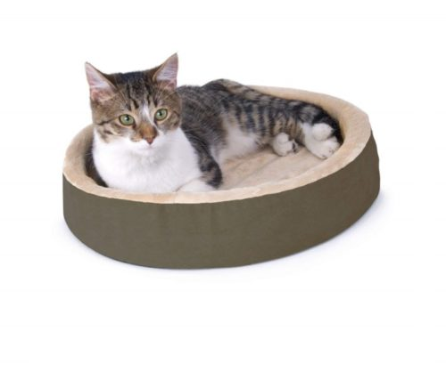 8.K&H Pet Products Thermo-Kitty Cuddle Up Heated Pet Bed Mocha 16 4W