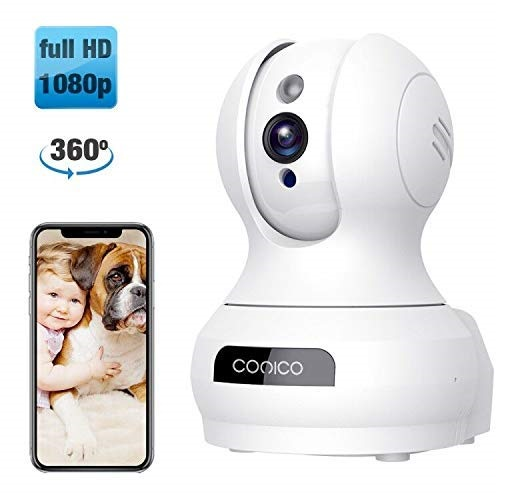 9.Wireless Camera, 1080P HD WiFi Pet Camera Baby Monitor, Pan Tilt Zoom IP Camera for ElderNanny Security Cam Night Vision Motion Detection 2-Way Audio Cloud