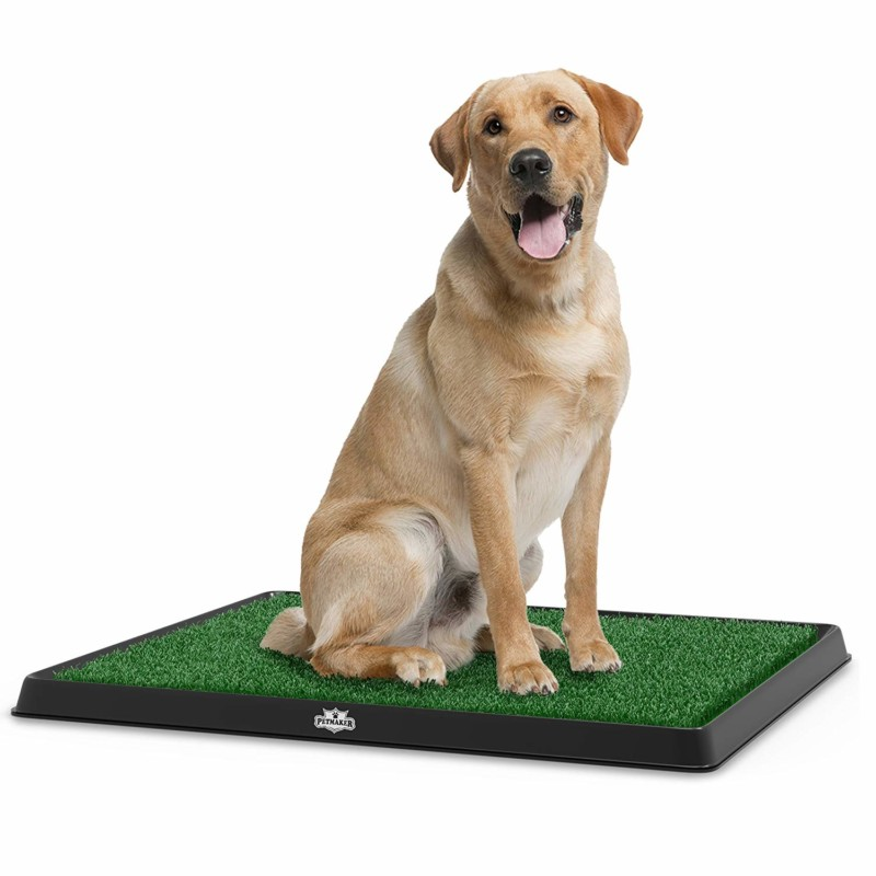 "Artificial Grass Bathroom Mat for Puppies and Small Pets- Portable Potty Trainer for Indoor and Outdoor Use by PETMAKER- Puppy Essentials, 20"" x 25."""