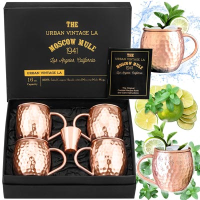 9. Moscow Mule Copper Mugs Set, Real Copper Cups for Moscow Mules by Urban Vintage LA