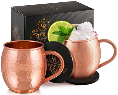 8. Solid Copper Cups with Hammered Finish by KoolBrew