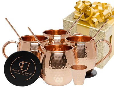 1. Mule Science Moscow Mule Copper Mugs Set by Advanced Mixology