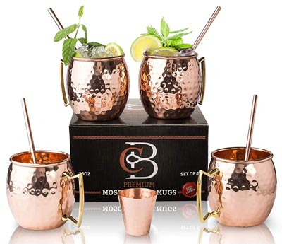 5. Moscow Mule Mugs 100% Solid Copper by Copper-Bar