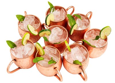 4. Moscow Mule Hammered Copper set of 8, Drinking Mug by Kitchen Science