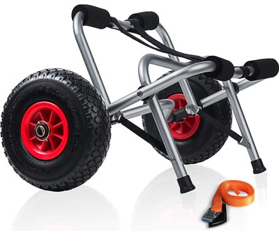 3. Kayak Cart Dolly Wheels Trolley by OxGord, Best for Beach Tires Transport
