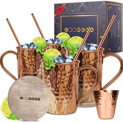 6. Best Moscow Mule Mugs Set by Yooreka