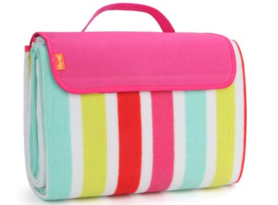 5. Spring Summer Stripe, Water-Resistant Outdoor Picnic Blanket for Camping by yodo