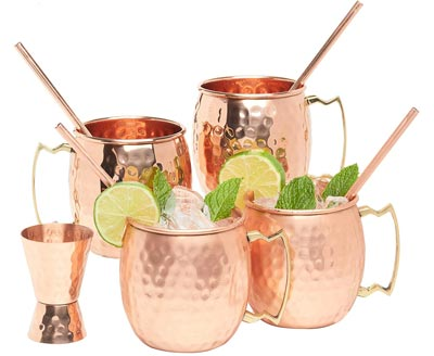 3. Moscow Mule Hammered Copper set of 4 by Kitchen Science