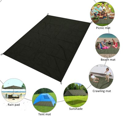 3. Outdoor Picnic Waterproof Blanket, Lightweight Sand Proof Pocket Mat for Beach, Hiking, Camping by LikorLove