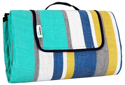 10. Camping Mat Striped, Large Picnic Blanket Waterproof Padded by Panlen
