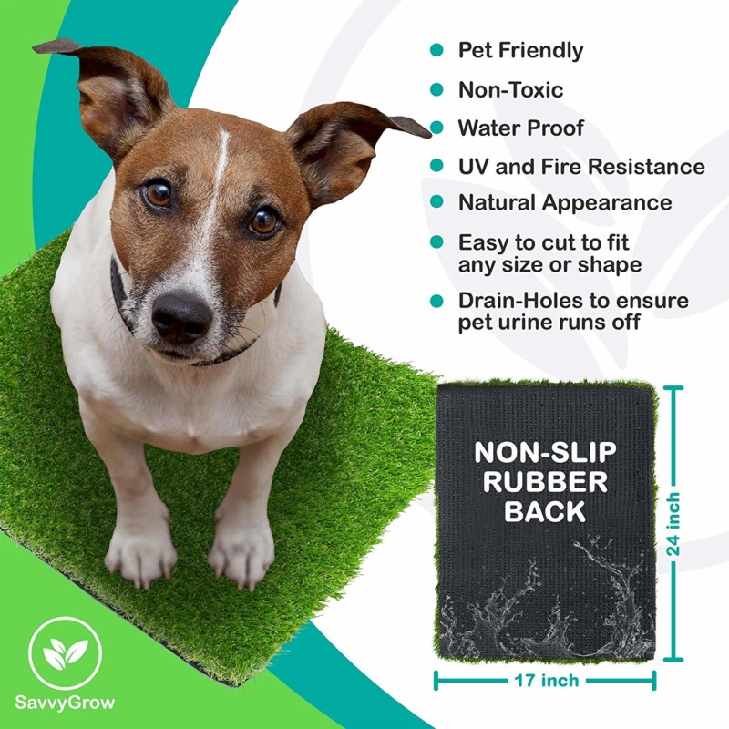 SavvyGrow Artificial Grass for Dogs Pee Pads - Premium 4 Tone Puppy Potty Training, Easy to Clean with Drain Holes - Fake Astro Turf Dog Mat Pad – Non-Toxic for Pet (Many Sizes)(17 in x 24 in)