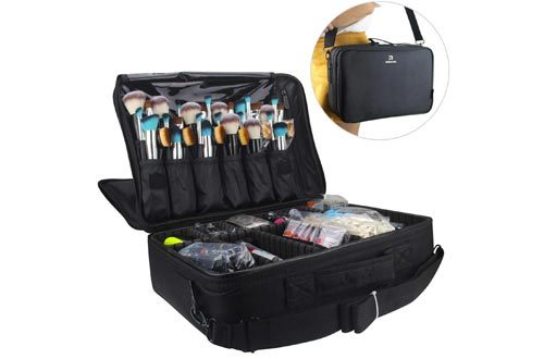 Relavel Professional Makeup Train Case Cosmetic Bag Brush Organizer and Storage