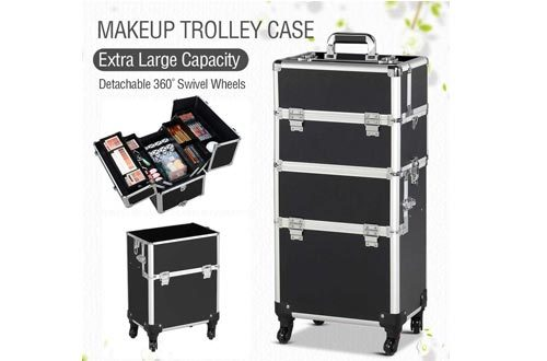 Yaheetech 3 in 1 Professional Artist Rolling Trolley Makeup Train Case