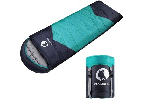 CANWAY Sleeping Bag with Compression Sack, Lightweight and Waterproof for Warm & Cold Weather